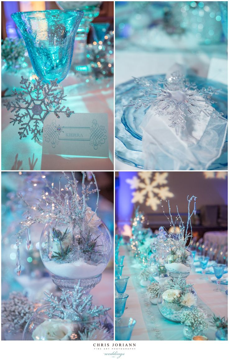 Beautiful crystal sparkle snowflake table decor. Perfect for a winter wonderland themed sweet 16 birthday party.