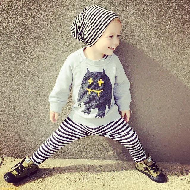 2015 new autumn Baby Girls Boys Monster clothes 2pcs  top + pants children's clothing set carters kids clothes  sport Suits