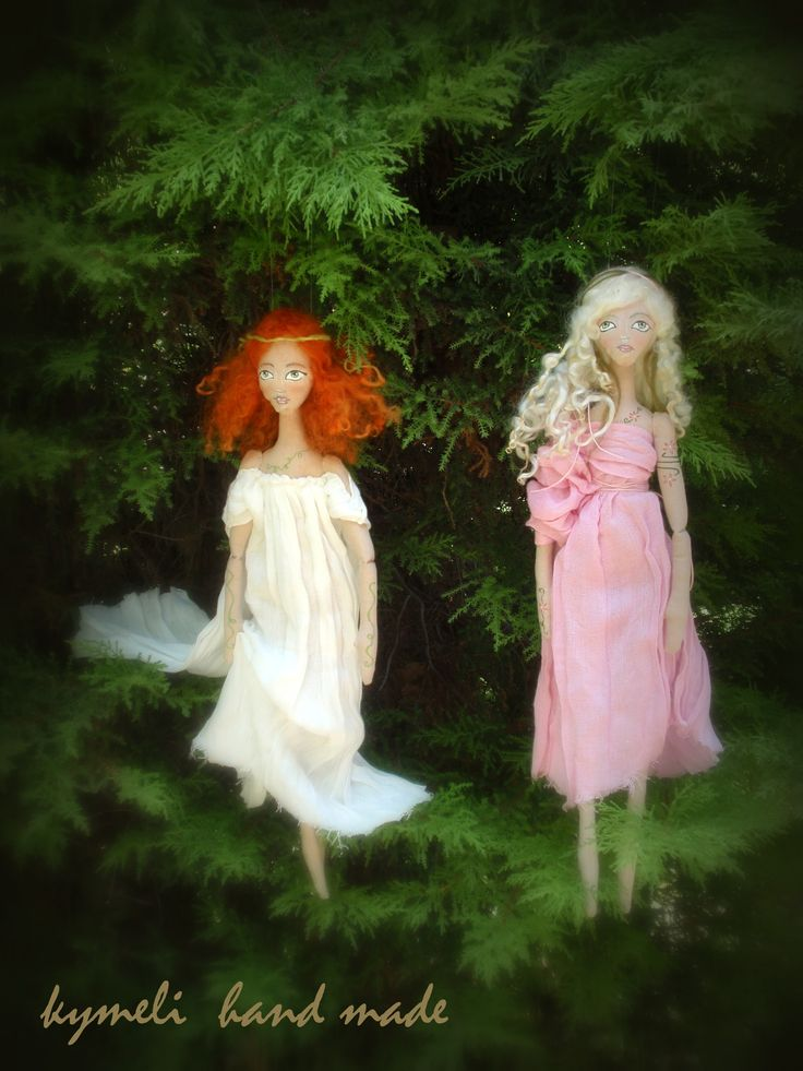 Nymphs Chryspeleia and Ianeira     OOAK Art Dolls by kymeli