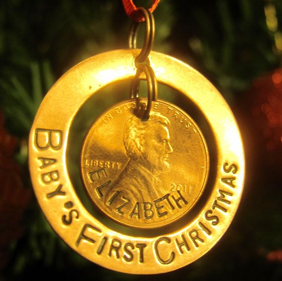 Hand Stamped Penny Ornament - Baby's First Christmas -Made to Order- on Etsy, $24.00