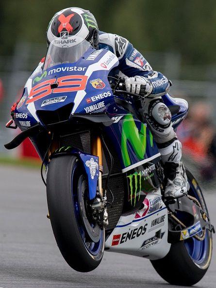 Jorge Lorenzo of Spain rides his Movistar Yamaha MotoGP during the second free…