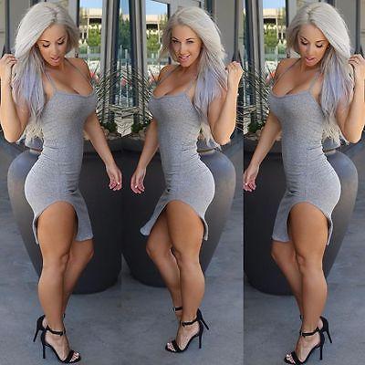 Women-Sexy-Gray-Slim-Bodycon-Bandage-Party-Clubwear-Above-knee-Mini-Dress