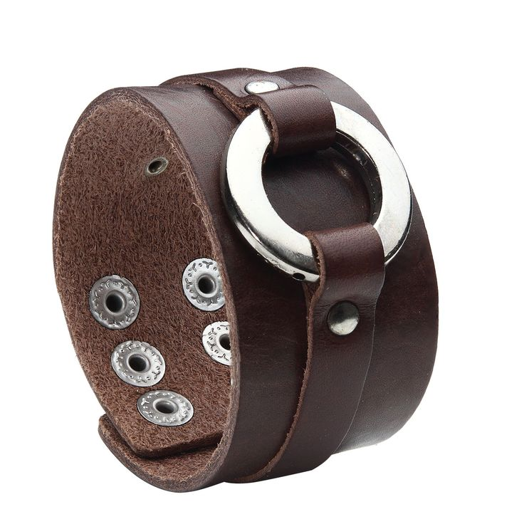 BodyJ4You® Bracelet Genuine Leather Bangle Cuff Brown Ring Cuff