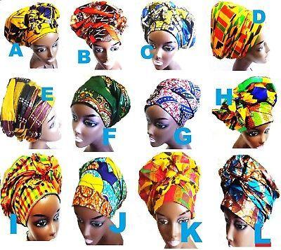 Details about African Fabric Ankara Wax Prints Headtie Head Wrap 20″ X 71″ inch – Choose  – African fashion ankara