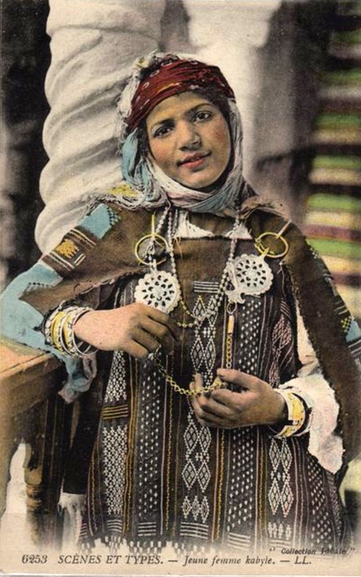 """Africa   """"A Young Kabyle Woman"""". Algeria  ca.  1916   Scanned old postcard; publisher LL. No. 6253"""