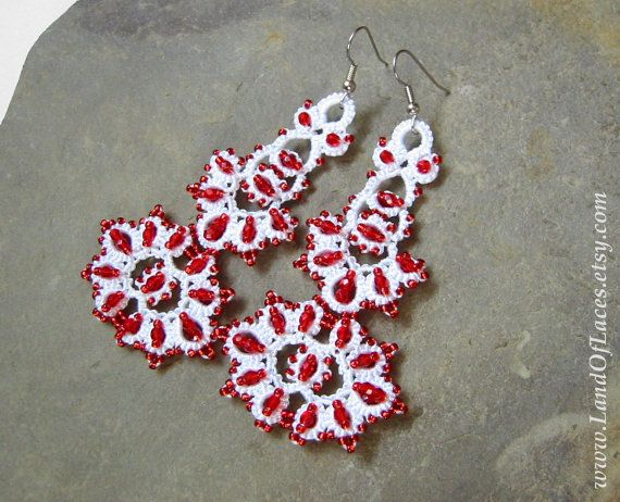 Statement white and red wedding lace earrings  Big by LandOfLaces