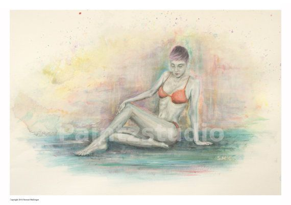 Woman painting figure nude girl in bikini woman on floor girl posing woman posing female art lady posing feminine art nude figure wall art
