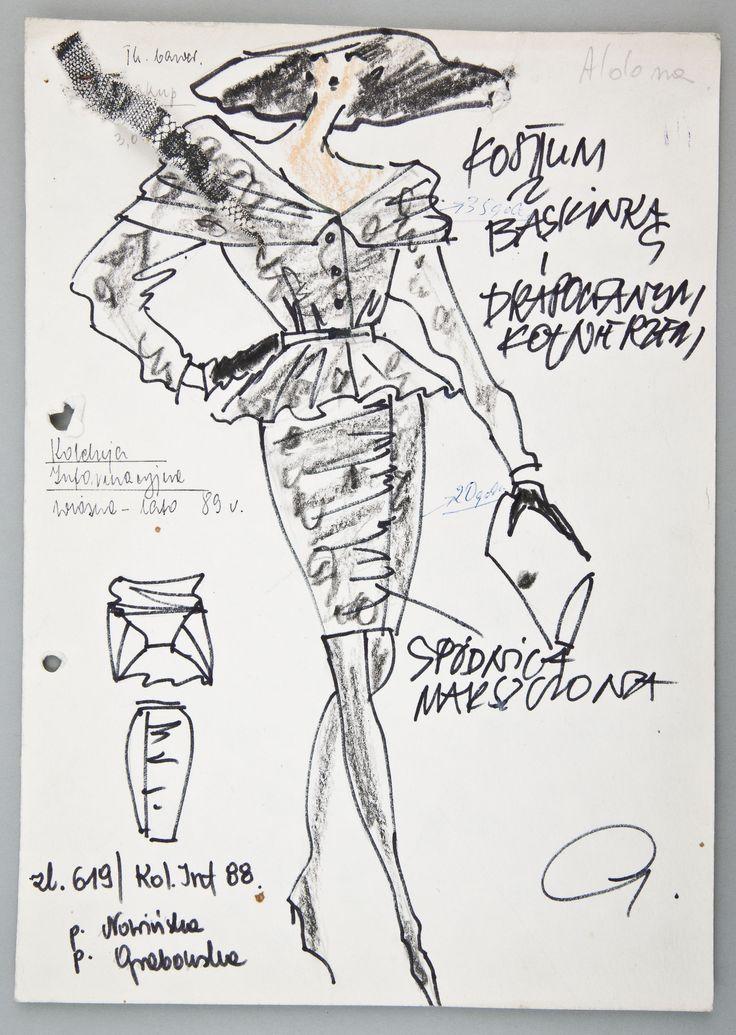 """Jerzy Antkowiak, """"Moda Polska"""", Projekt kostiumu, 1988, wł. MNK #PRL #Moda Polska #Polish fashion #Jerzy Antkowiak"""