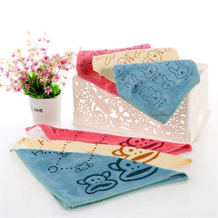 3 Colors 25*25 Cm Cartoon Brushed Cotton Children Towel Small Square Fiber Thicken Handkerchief For Kids VBD01 P0.16