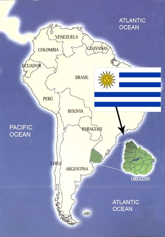 Uruguay is a country in South America. The Capital of Uruguay is Montevideo. Some interesting facts about Uruguay are: The population is  same as Central London population, the national anthem is the world longest song-4:45, and the Uruguay means the river of the painted birds.