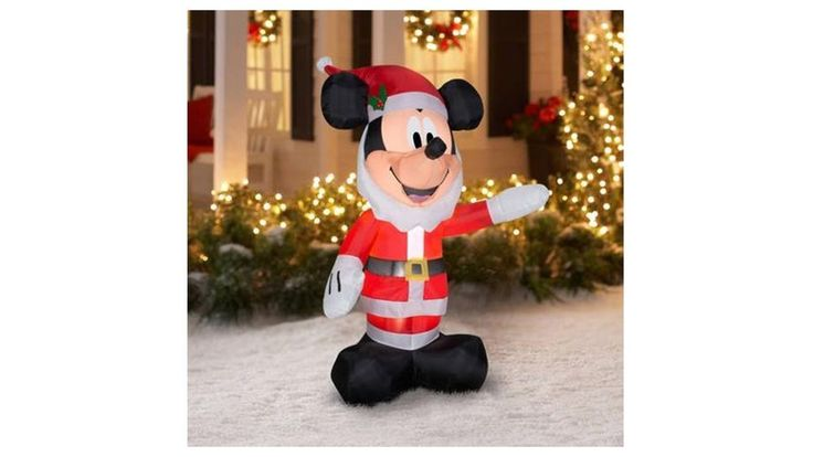 5' Inflatable Mickey As Santa with Beard Christmas Airblown Outdoor Yard Decor