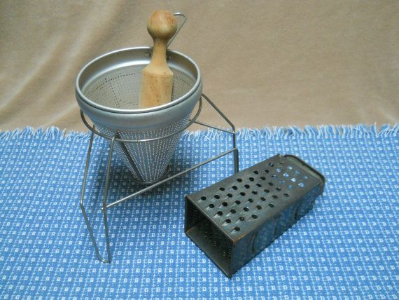 Vintage Cone Shaped Colander with Wood Pestle, Aluminum Stand (Unique Shape), Vintage Ricer, Sieve, Food Press Plus Vintage Rustic Grater