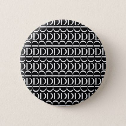 Monogram Initial Pattern Letter D in White Pinback Button - initial gift idea style unique special diy