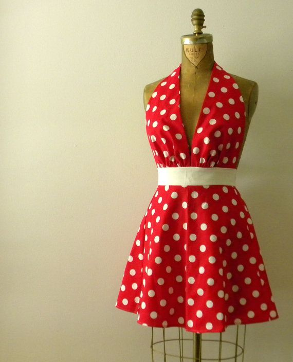 SEXY Polka Dot Full Apron Marilyn Style by sugarnspiceaprons, $30.00