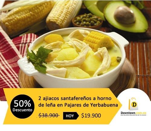 Menú del día: Deliciosa comida colombiana. Hoy descuento del 50% para 2 ajiacos santafereños hechos al horno de leña. Adquiere ofera en Downtown.com.co