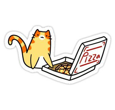 """Pizza Box Tabby Cat"" Stickers by SaradaBoru | Redbubble"