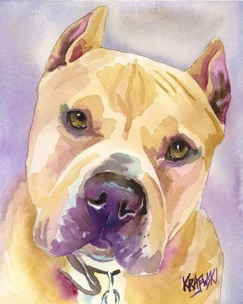 Pit Bull Art Print of Original Watercolor Painting by dogartstudio