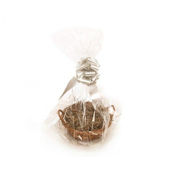 Soho Basket (Christmas Gift Kit) Manila Shred, Silver Bow