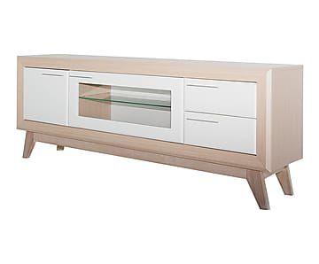 Mueble para tv en madera con 2 cajones natural y blanco for Proyecto de muebles de madera
