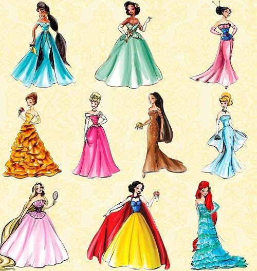 Disney princesses in modern dresses