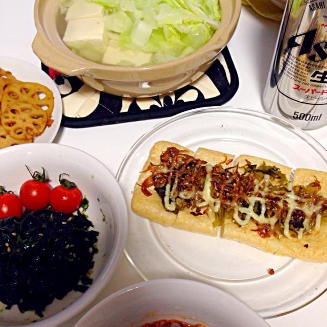 大好きなビールのおつまみ♡ - 3件のもぐもぐ - キャベツ&湯豆腐☆にんにくしらすと高菜のお揚げトースト☆アーサとワカメの胡麻和え☆れんこんキンピラ by timleo810
