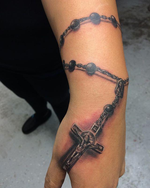 Rosary Bead Tattoo Hand
