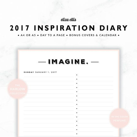 2017 A4 & A5 DAY TO A PAGE INSPIRATION PLANNER - THE HARLOW PLANNERS IN PERFUME  Live 2017 to the fullest with my inspirational day planner! Featuring one unique, inspiring word every single day, youll find it easy to live your best life this year!  > SPEND $20 AND GET 20% OFF!!! JUST USE CODE PERFECTPLANNER  > FEATURES  ▪️ simple design ▪️ generous notes area ▪️ bullet point list ▪️ unique inspirational word each day :blac