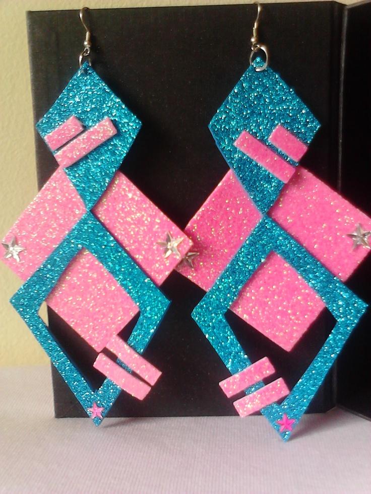 Cute Glitter Foam Earrings... OMG 80's party ready!!!
