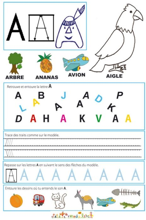 Reading page – writing of A l Kindergarten reading