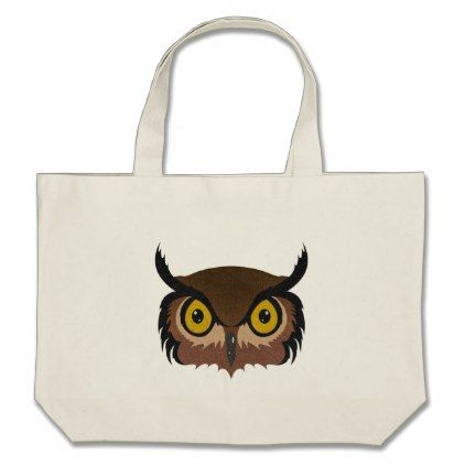 Owl Face Large Tote Bag - diy cyo customize create your own #personalize