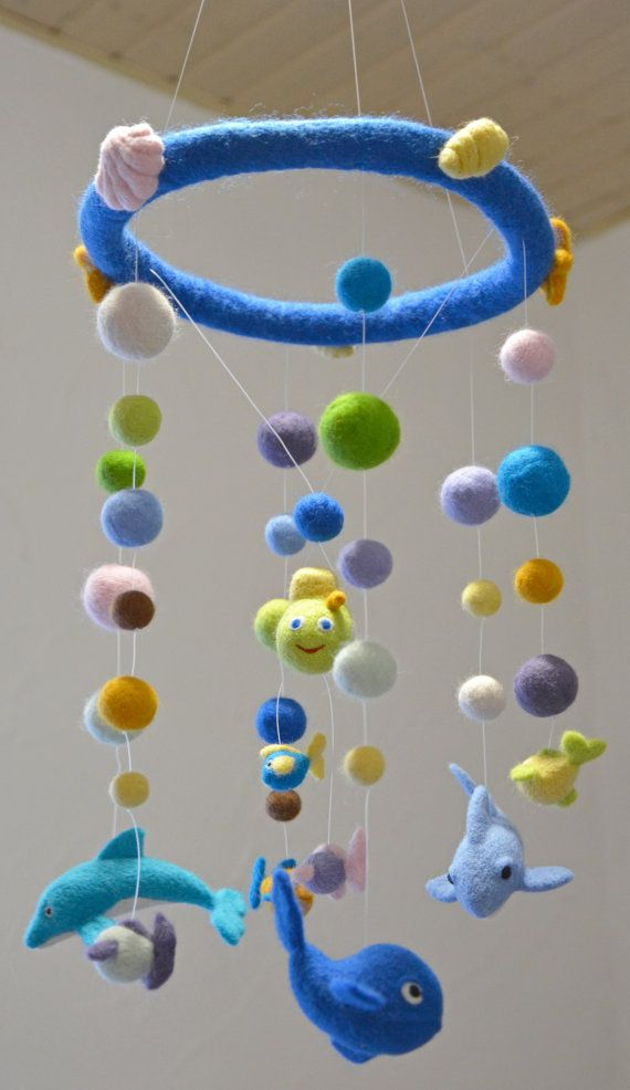 Baby Sea Mobile  Felted Baby Mobile  Nursery Crib by RevesDeLaine, €159.00