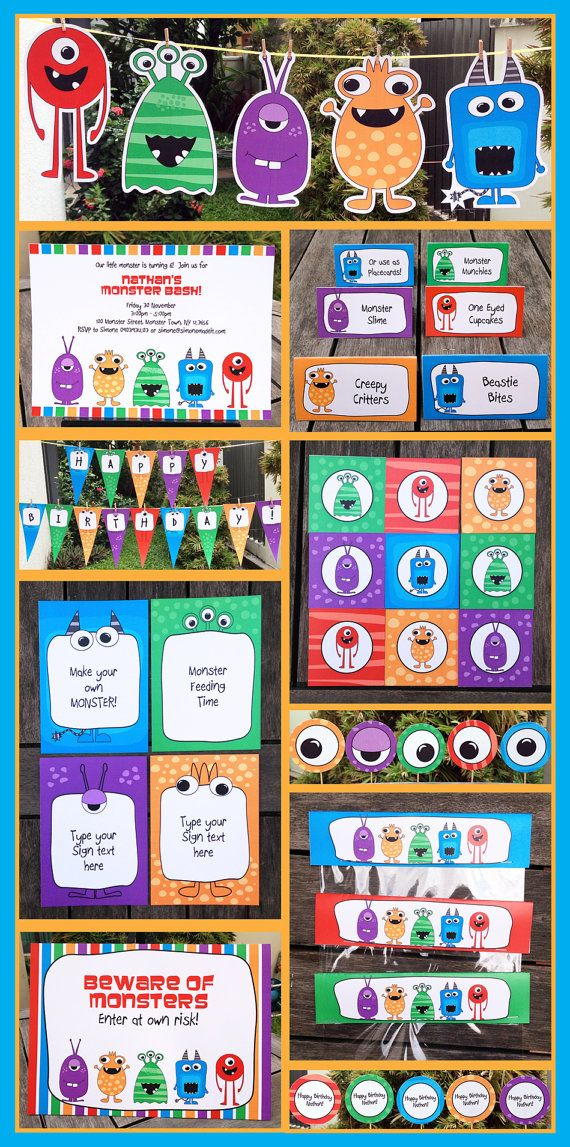 Monster Birthday Party - INSTANT DOWNLOAD full Printable Collection + Invitation - EDITABLE text that you personalize with Adobe Reader