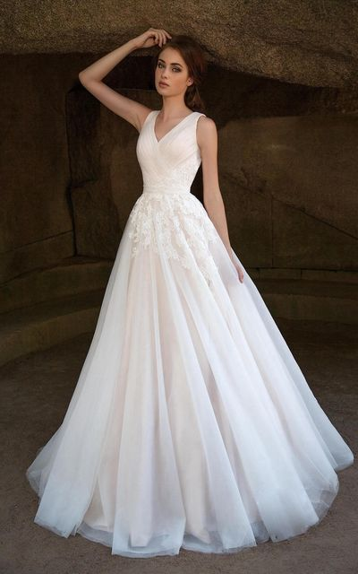 Charming Appliques Tulle Long Prom Dresses, A Line Pleated Evening Dress, Formal Gown