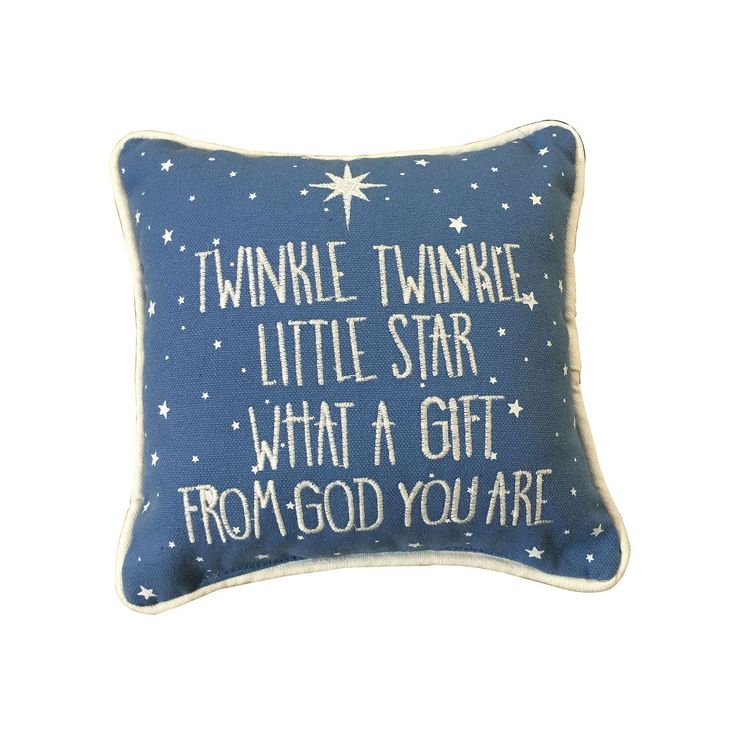 ''Twinkle, Twinkle Little Star'' Embroidered Small Throw Pillow, Blue
