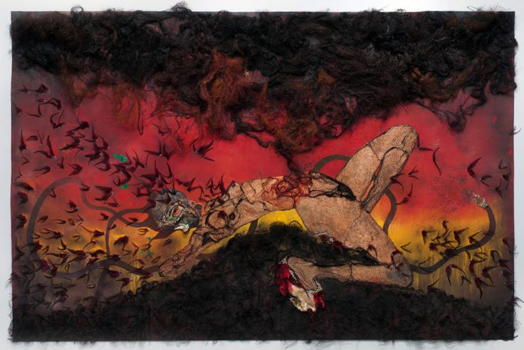 "Wangechi Mutu, The Storm Has Finally Made It Out Of Me Alhamdulillah, 2012. Mixed media collage on linoleum, 73"" H x 114"" W x 4"" D. Image courtesy of the Artist and Susanne Vilemetter Los Angeles Projects; Photo Credit: Robert Wedemeyer."