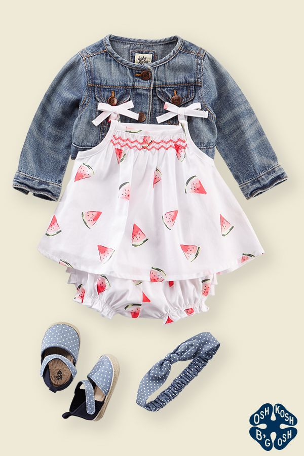 The Sun Set: Made super sweet with slices of watermelon and peek-a-boo ruffles on the back, this piece is essential for any beach-going baby girl! Add a classic denim jacket, chambray shoes and you could just gobble her up!