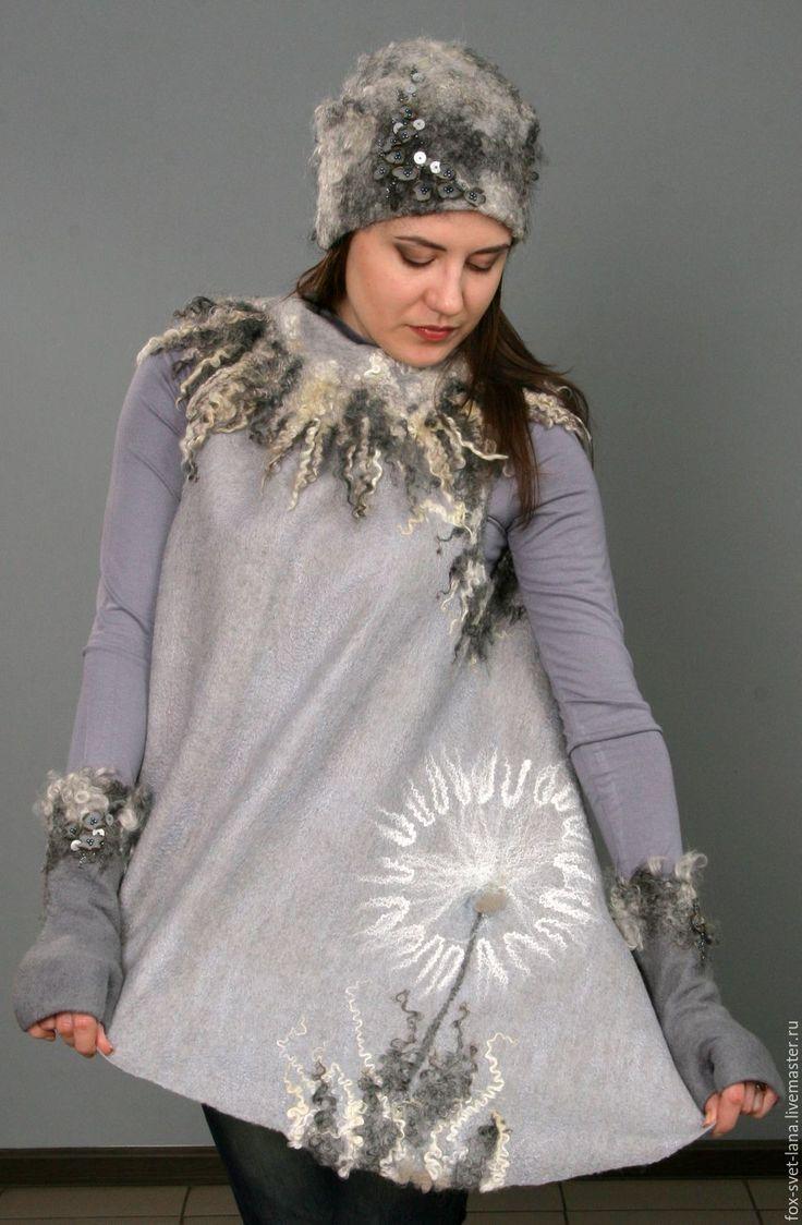 """Купить Комплект шапка+митенки """"Серебро"""" - серебряный, абстрактный, валяный комплект, шапка, митенки, шерсть меринос"""