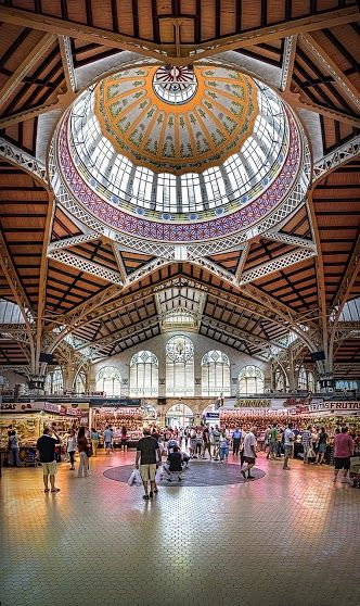 This is a Vertorama of the Mercado Central  in Valencia, Spain - one of the oldest running food markets in Europe.