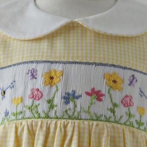 Yellow Gingham Smocked Dress by Betti Terrell