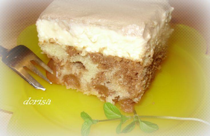 Fotorecept: Tvarohový koláč s čerešňami a pudingom
