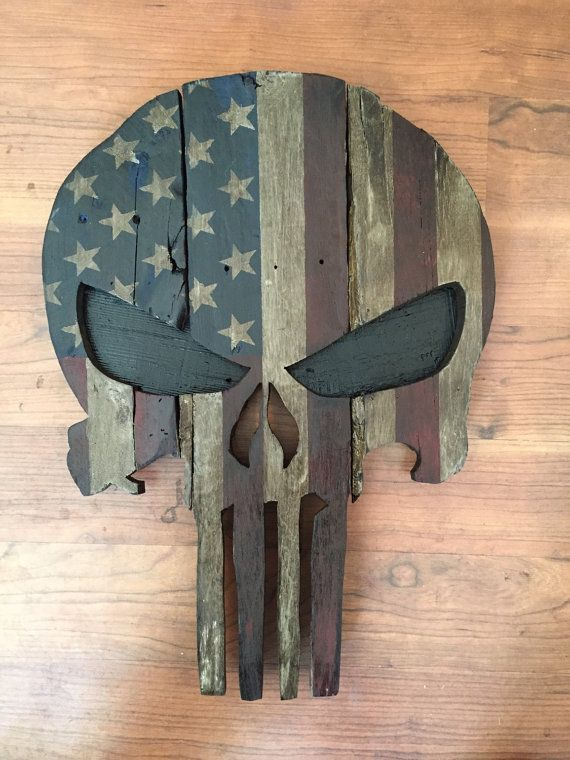 Reclaimed wood handpainted Punisher Spartan or by RuggedMooseDecor