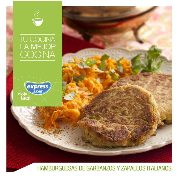 Hamburguesas de garbanzos y zapallos italianos. #Recetario #Receta #RecetarioExpress #Lider #Food #Foodporn