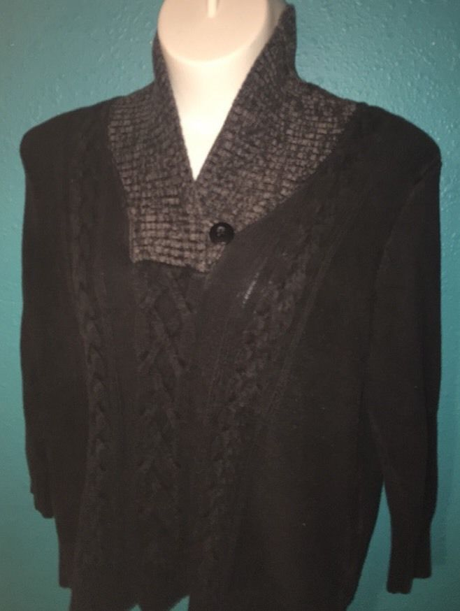 North Crest Long Sleeve Black Grey VNeck Sweater Woman's Size 2X 20W 22W C22 | Clothing, Shoes & Accessories, Women's Clothing, Tops & Blouses | eBay!