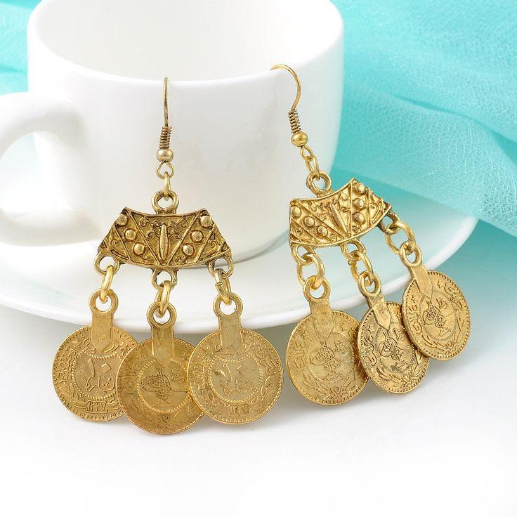$8 Classic Bohemian Gold Coined Drop Earrings