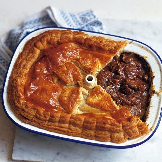 Steak, kidney, ale and mushroom pie recipe - This traditional British recipe has delicious thick gravy and can even be made without kidney. A rich and satisfying pie.