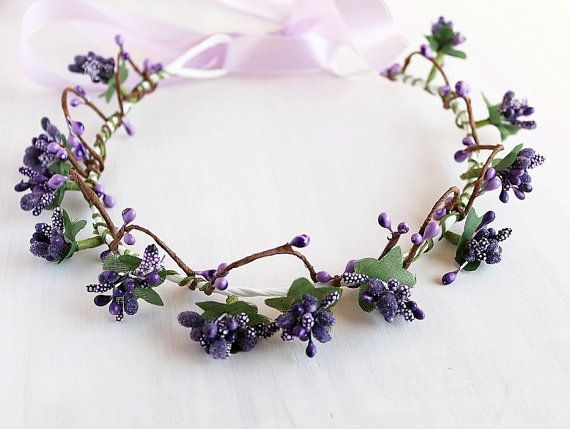 Purple Berry Crown, Woodland Halo, Boho Wedding Crown, Flower Girl Wreath, Purple Head Piece, Rustic Crown, Floral Crown, Natural Berry Halo