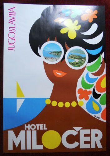 1970s Original Poster Yugoslavia Montenegro Hotel Milocer Sveti Stefan Adriatic | eBay