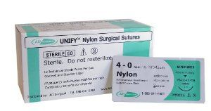 """UNIFY Nylon Sutures - MEDIUM (FS-2/C-13) 19mm Reverse Cutting 3/8 Circle Needle. 4-0 18""""/45 cm Thread. 12 Per Box by AD Surgical. $15.50. Strength duration: 2 Years; Absorb duration: N/A; Sterilized by EO gas. Needle coated with silicone for smooth tissue passage; Smooth flow through tissue while maintaining optimal knot security. Ultra sharp needle point for atraumatic tissue penetration. NYLON SUTURE - Thread Color: Black. Drill End Press Fit needles for maximum stren..."""