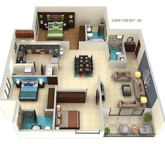 3d Modern House Floorplan Design In 2020 Home Building Design House Layout Plans Model House Plan