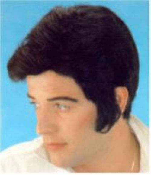 Rockabilly Elvis - Elvis-style wig in black with wired sideburns. Pick one up for your Elvis costume. #elvis #rockabilly #yyc #wig #costume
